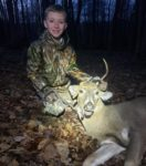 Cole Harris, age 8, of Fairmont, W.Va. with is first deer killed with a crossbow during the 2019 archery season