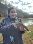 David Stone of Spurlockville, W.Va. sends along this picture--but didn't tell us who the young lady is, only that it's the first trout of the year caught at Chief Logan Pond in Logan County, W.Va.