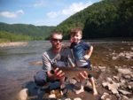 Chad Shay, age 3 with his Daddy, Jared Shay of Rowlesburg, WV show off a nice trout caught on the Cheat River in Preston County