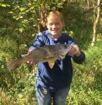 Jay Wymer of Winfield, W.Va. says his wife has outfished him all year and sent along this picture of a 2 pound white perch (drum) she caught from Hurricane Creek in Putnam County, W.Va.