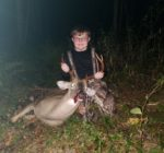 Leland Champ, age 10, of Camden on Gauley, W.Va. with his first ever deer.  He killed this 7 point buck on the opening day of the 2019 archery season in Webster County, W.Va.