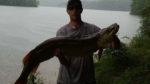 Markus Ross of Weston, W.Va. with a 50-inch musky caught from Stonecoal Lake