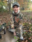 Parker Wood, age 12, of Summersville with his first ever archery kill.  This doe was feeding on acorns and Parker shot it from a ground blind while hunting with his dad in Nicholas County during the 2019 season.