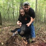 Brandon Lee of French Creek, W.Va. and his daughter Ryley, age 5, pose with Ryley's first black bear, which she took in the early bear season of 2019 hunting in Randolph County.