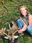 Tiffany Warner of Riverton, W.Va. with a 12 point buck taken with a crossbow during the 2019 hunting season.