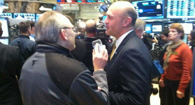 WVU President Jim Clements spoke with MetroNews on the floor of the NYSE last Dec. a day before the Pinstripe Bowl.