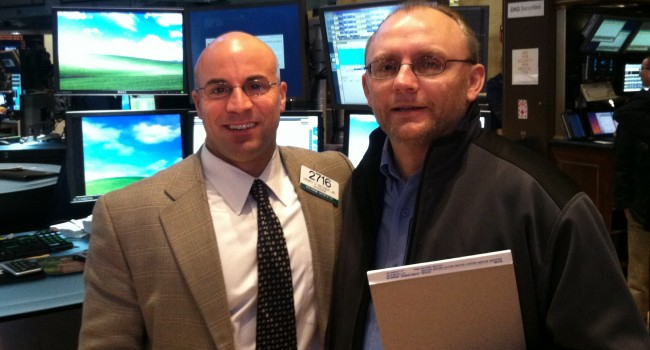 MetroNews Reporter Jeff Jenkins and Long Island native Henry Becker Jr. on the floor of the NYSE.  Becker spent every summer of his childhood on a farm in Braxton County and remains a big WVU fan.