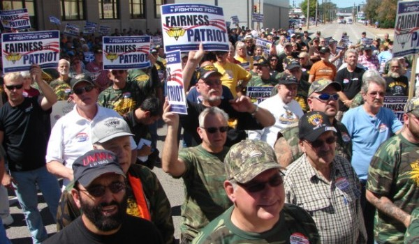 UMWA members during a similiar march through Charleston over the Patriot Coal bankruptcy in September 2012