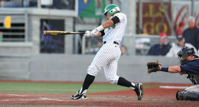 Marshall's Andrew Dundon doubles to center to start The Herd's seventh-inning rally vs. West Virginia.