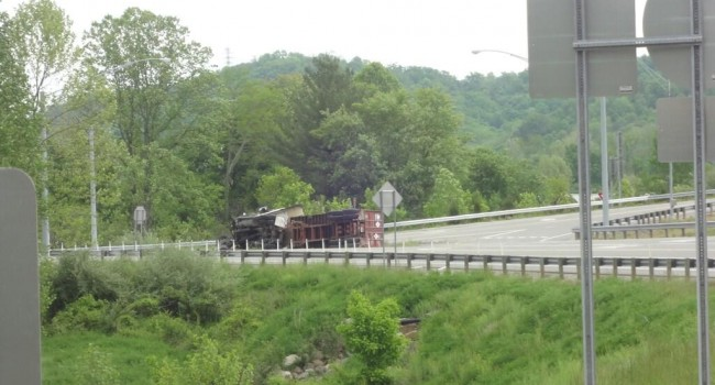 Truck overturned on busy U.S. Route 35 Friday morning.