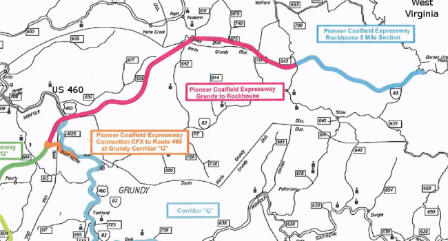 Map showing projected path of Coalfield Expressway