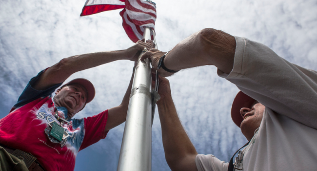 The flag is being raised on the National Scouting Jamboree in Fayette County.