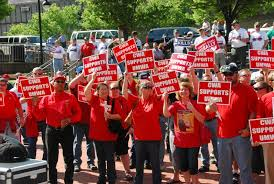 Members of the Communication Workers of America have rallied several times to bring attention to contract negotiations.