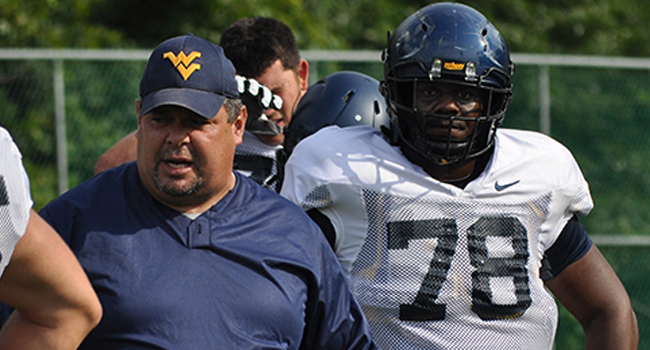 West Virginia's Marquis Lucas is working at first-team right tackle this spring, after spending his first three college seasons playing guard.