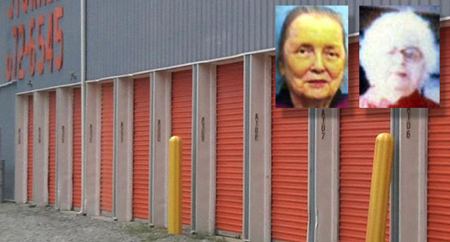 Alabama authorities believe the remains 84-year-old Wynona Delvecchio (left) and her mother 104-year-old Mary Cobb may have been found in this storage unit in Summersville in August.
