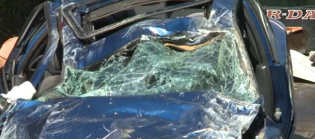 This is what was left of car that crashed on U.S. Route 60 Monday afternoon in Fayette County.