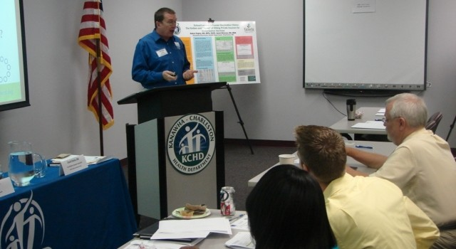 Accreditation education specialist David Stone speaks at Tuesday's workshop.