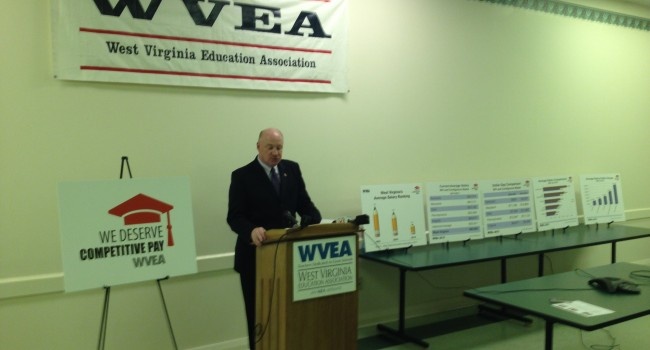 West Virginia Education Association President Dale Lee announces Competitive Pay Campaign