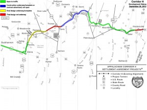 This map shows the status of work on Corridor H.  Please note the map is not to scale.