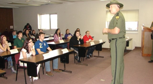 Students from River View High School in McDowell County heard from State Police Sgt. Joe Portaro Tuesday at the State Police Academy.