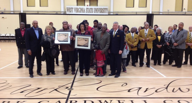 Family and friends are joined by WVSU President Brian Hemphill during ceremony Wednesday