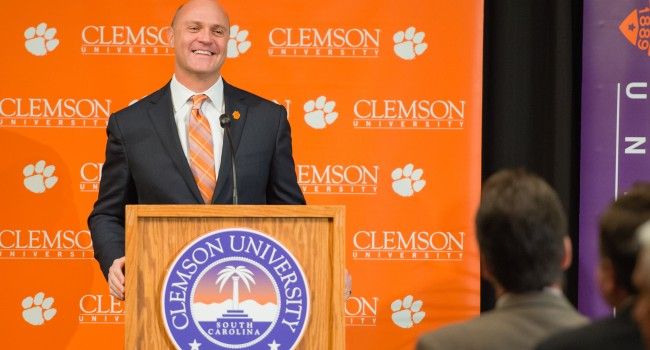 Jim Clements enthusiastically accepted the job as the 15th president of Clemson University Monday.