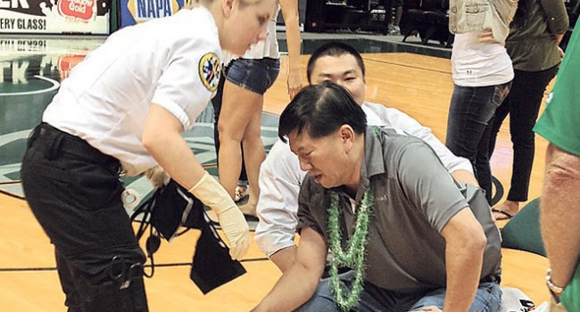 University of Hawaii Athletic Director Ben Jay was hurt in the scuffle after the WVU women's basketball game in Honolulu.