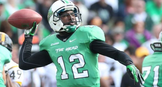 Rakeem Cato has thrown 36 touchdown passe, three behind the single-season Marshall record set by Chad Pennington in 1997.