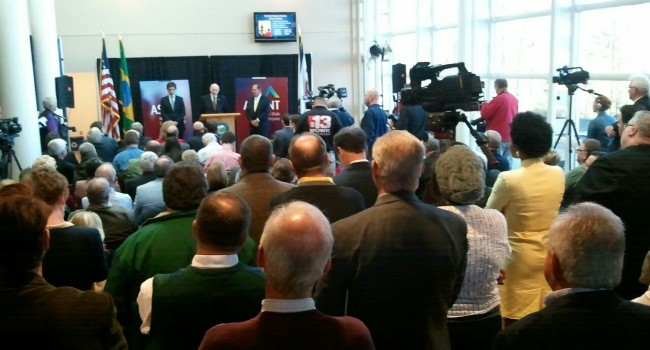 A crowded room listened to Thursday's announcement at WVU Parkersburg.