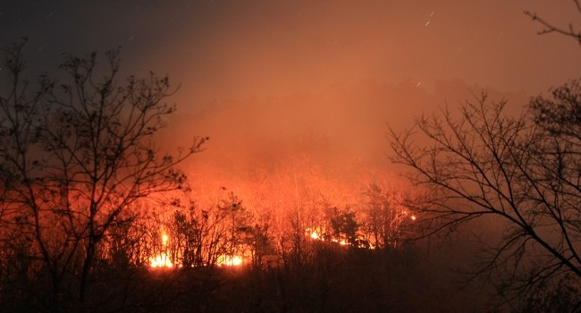At the height of the fire, the Smoke Hole Fire could be seen for miles in the Potomac HIghlands region