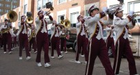 The George Washington High School band performed Monday.