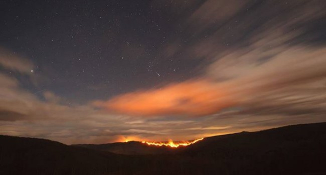 View of North Mountain fire in Pendleton County from Smith Mountain.