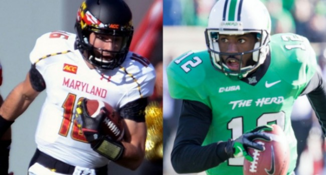 Quarterbacks CJ Brown for Maryland and Marshall's Rakeem Cato will face off in the Military Bowl on Dec. 27.