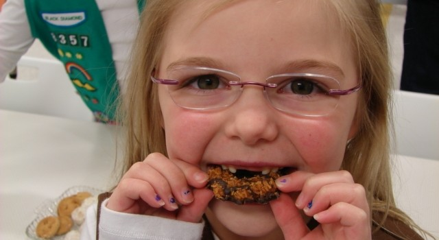 This Brownie was enjoying a Samoa Friday at the kick-off campaign.