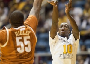 Eron Harris was limited to six points on 3-of-11 shooting, including 0-of-7 from 3-point range, in West Virginia's 80-69 loss to Texas.
