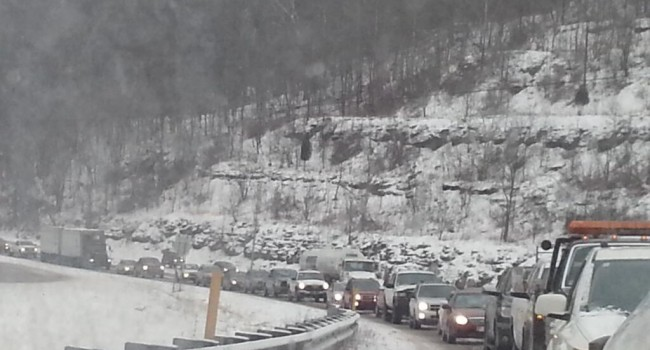 Interstate 77 southbound near the Tuppers Creek exit was closed Monday morning because of slippery conditions.