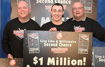 The three finalists in the Monopoly Millionaire second chance drawing split the total prize money to take home more than $253,000 each.  They were (from left) Todd Kingrey of Charleston, Josh Schoolcraft of Given and Douglas Schafer of Wheeling.