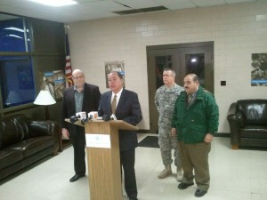Jeff McIntyre, (from left) West Virginia American Water Company president, Governor Earl Ray Tomblin, state Adjutant General James Hoyer and Jimmy Gianato, state Homeland Security Secretary, briefed media members about the do not use water notice on Thursday night.