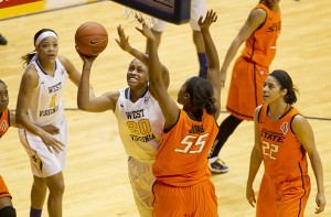 West Virginia's Asya Bussie finished with 12 points and 12 rebounds in Wednesday's 77-45 win over Oklahoma State.