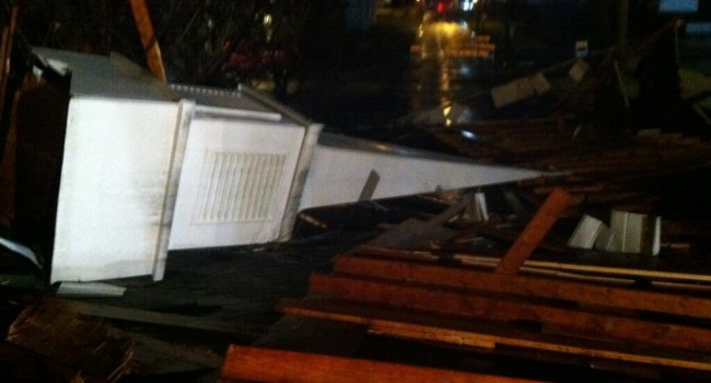 A heavy wind gust Friday morning tore this steeple off Open Door Baptist Church in Huntington.