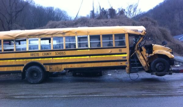 Fayette County school sustained damage Wednesday evening after running off the road on Route 61 in Montgomery.