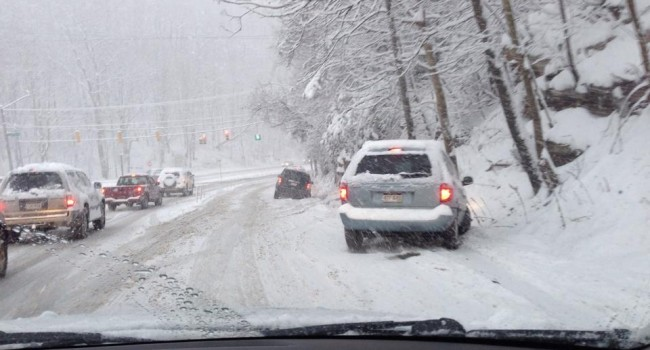 Greenbrier Street in Charleston was snow covered and slippery Thursday morning as motorists tried to deal with the heavy accumulation.