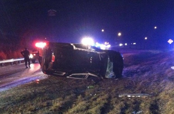 Hurricane Police Officer Ritchie Poe suffered minor injuries when his cruiser hydroplaned on I-64 Monday morning in Kanawha County