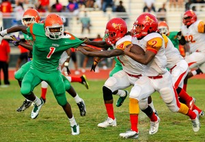 Cornerback Kevin Williams (1), a 2015 recruit from Blanche Ely High School in Pompano Beach, Fla., committed to West Virginia on Friday.