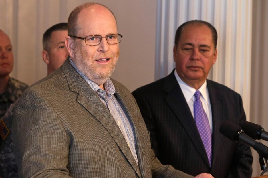 Jeff McIntyre spoke to state lawmakers Monday. He appeared at several media briefings with Gov. Earl Ray Tomblin last month as shown in this photo.