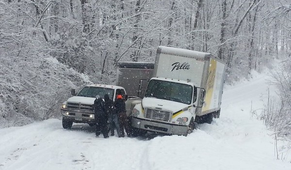 The snow was too much for these Morgantown drivers Monday morning.