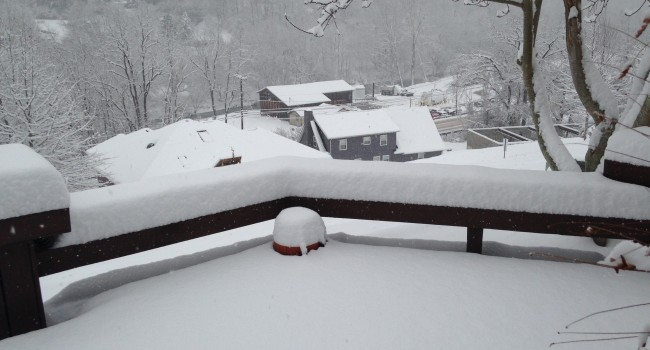 This is a view of a back porch in Chapmanville on Thursday morning.