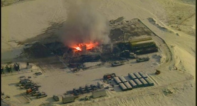 Gas well exploded and caught fire Tuesday morning.