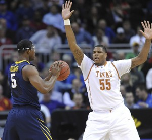 Cameron Ridley and the long arms of Texas are giving West Virginia a beating in the Big 12 tournament.