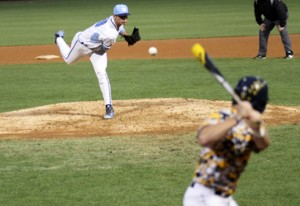 Justin Fox awaits a pitch from Luis Pauls during West Virginia's 5-1 upset of No. 12 North Carolina on Wednesday night.